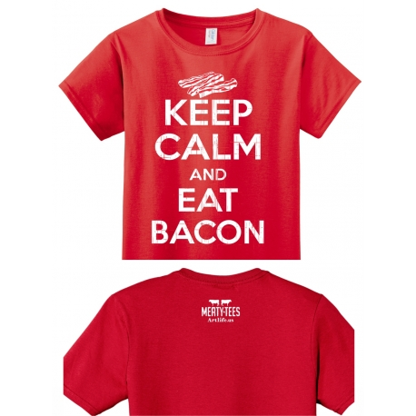 Keep Calm and Eat Bacon Adult Tee