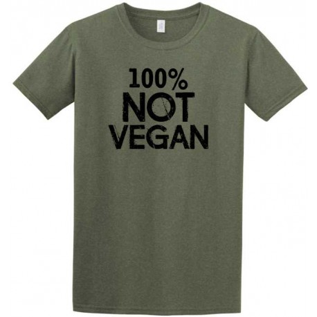 100% Not Vegan Adult Heather Military Green Short Sleeve Tee